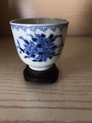 chinese antique bule and white Porcelain Flowers Cup With Mark