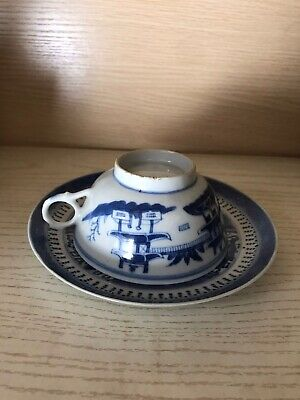 Antique Chinese Blue And White Tea Cup & Saucer