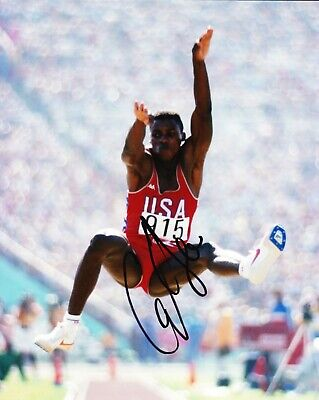 Carl Lewis Signed 10X8 PHOTO DISPLAY Olympic Legend USA AFTAL COA (A)