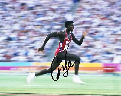 Carl Lewis Signed 10X8 PHOTO DISPLAY Olympic Legend USA AFTAL COA (C)