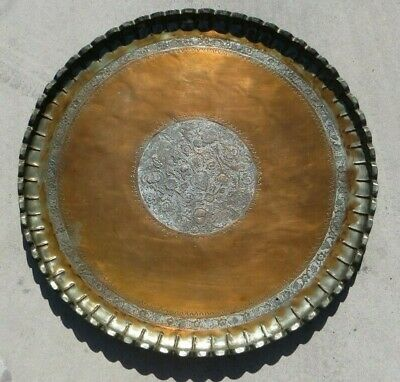 Vintage Large Copper Tray - Antique Hand Hammered Round Platter - Rare! 30""
