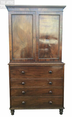 Stunning Early 19th Antique Mahogany Linen Press Wardrobe Chest of Drawers