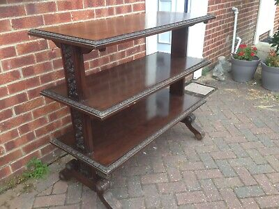 Antique Edwardian Mahogany Sideboard 3 Tier Buffet Server Table Carved Detail.
