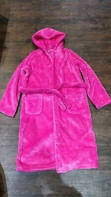 M&S - Girls Pink Dressing Gown - Super Soft and Fluffy - Age 13 -14yrs - VGC