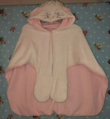 Girls Pink And White Fleece Dressing Gown Mittens And Cat Hood Age 4-5 Years