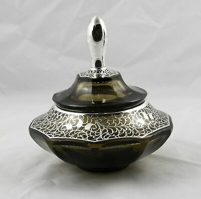 Moser Bohemian Smokey Art Glass Sterling Silver Overlay Covered Jar Mint
