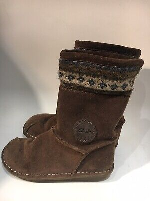 Clarks Girls Brown Suede Boots, Child's Size UK 11.5