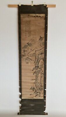 Old Vintage Japanese Paper Scroll Hand Painted