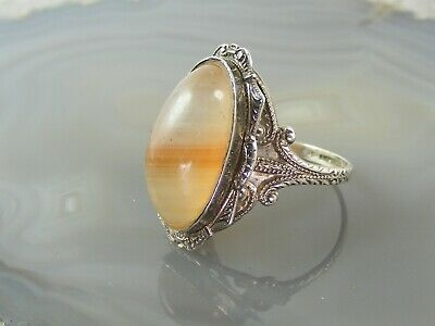 Antique Art Deco Sterling Silver Band Agate RING Sz: 6.25