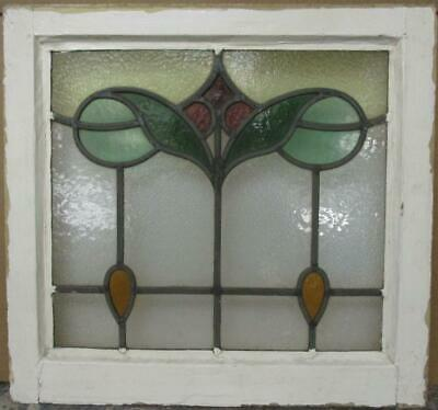 "OLD ENGLISH LEADED STAINED GLASS WINDOW Pretty Abstract Drops 19.25"" x 18"""