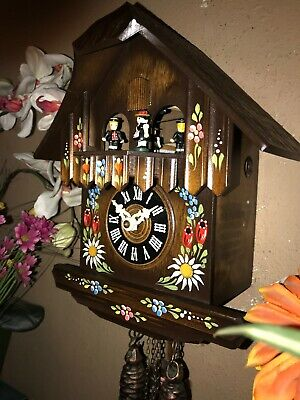 Beautiful German Black Forest Hand Painted Musical Cuckoo Clock With Dancers
