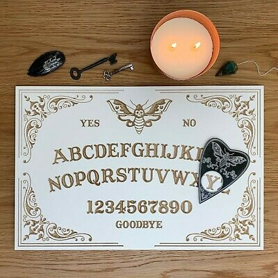 BRAND NEW White Wooden Birch Plywood Decorative Moth Ouija Board With Planchette