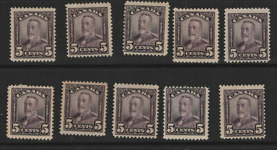 Wholesale Ten Stamp Lot CANADA Mint Hinged Scroll Stamps #153 (L3727)
