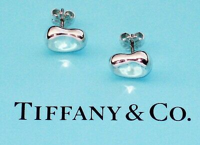 New authentic Tiffany & Co Sterling Silver Elsa Peretti Bean Earrings Hallmarked