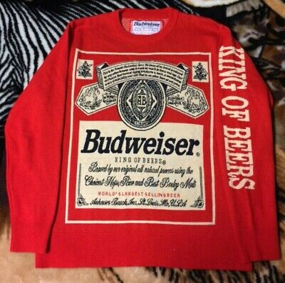 Sensational Budweiser sweater Large USA beer knit party officially licensed