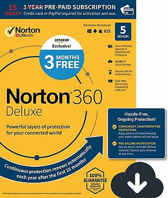 New Norton 360 Deluxe 5 Devices 15 months protection 2020  PC Mac