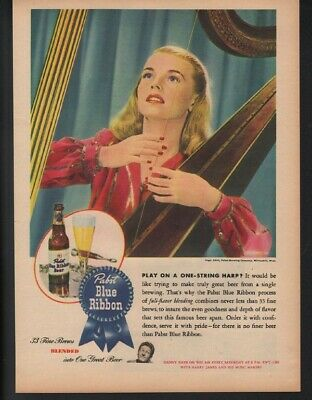 1945 Pabst Blue Ribbon Beer Alcohol Harp Woman Music String Hops Brewery  22186