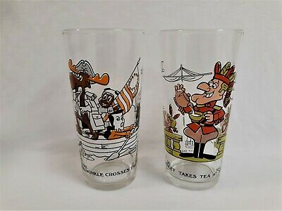 Vintage 70's Arby's Rocky & Bullwinkle And Dudley Do-Right Collectible Glasses