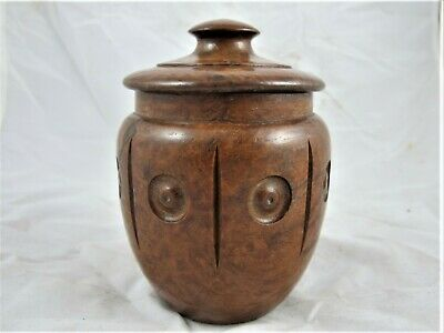 Australian casurina carved lidded jar c 1930's