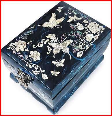 Hand Made Jewelry Music Box Ring Organizer Mother Of Pearl Sea Shell Inlaid BLUE