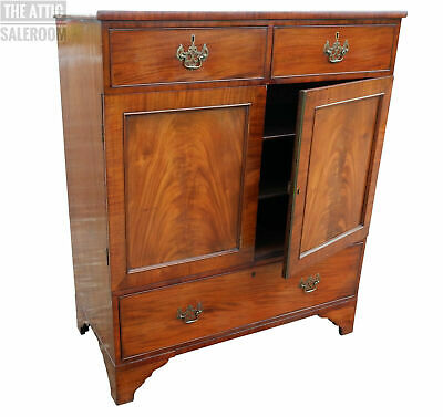 Charming Antique Victorian Mahogany Storage Cupboard w/ Drawers, Bookcase etc