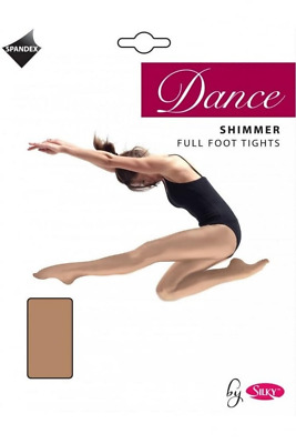 Silky Girls Dance Shimmer Full Foot Tights Light Toast Various Sizes NEW