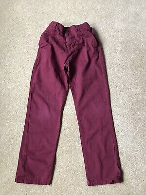 Boys Marks And Spencer Burgandy Trousers Age 9-10 Excellent Condition