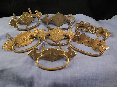 ANTIQUE C17th BRASS CABINET DRAWER HANDLES FITTINGS LOCKS HINGES etc LOT 1