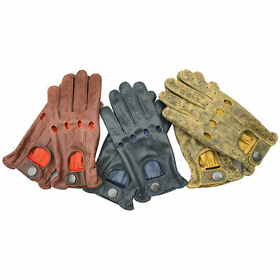 New Unlined Cow Crunch Leather STyle Mens Driving Fashion Slim Fit Gloves 507