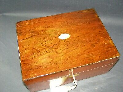 Antique Rosewood Desk Tidy Working Lock & Key c1880 Mother Of Pearl Inlay Center