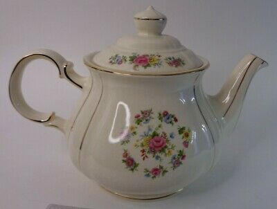 Vintage Sadler Rose Flowers Gilt Country Style Teapot Made in England