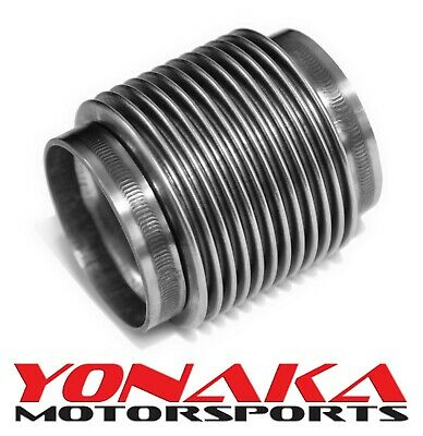 """Yonaka 3"""" ID Slip Fit T304 Polished Stainless Steel Exhaust Bellow Flex Joint"""