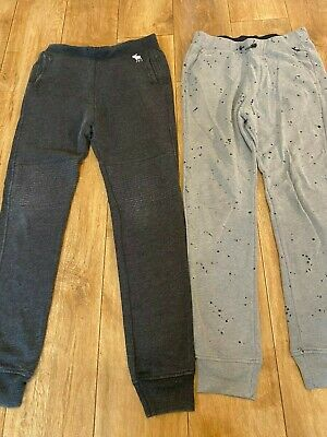ABERCROMBIE & FITCH 2 PAIRS OF BOYS JOGGERS AGE 13/14 dark grey & light grey