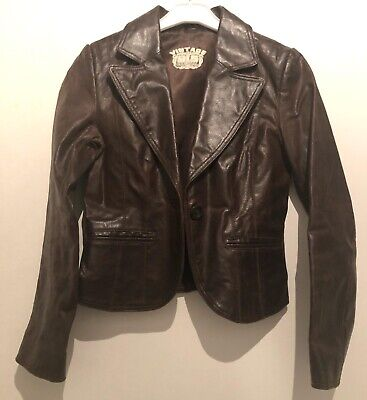 146-152 11-12 Yrs Brown Vintage Leather Jacket Towie/Summer/Celeb/School/Party