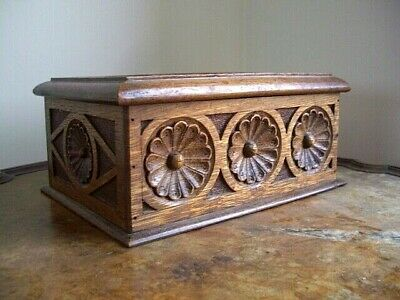 Antique Hand Carved OAK Wooden Black Forest Box
