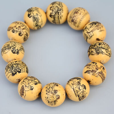 Collect Rare Old Resin Hand-Carved Spouse Life & Bloomy Flower Noble Bracelet