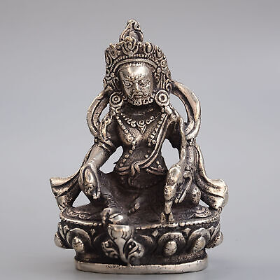 Collectable China Old Miao Silver Carve Delicate Exorcism Buddhism Decor Statue