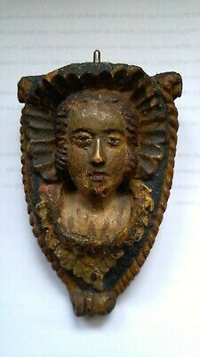 Antique Hand Carved Wooden Religious Icon