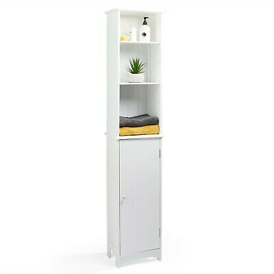 VonHaus Bathroom Tallboy Cabinet Storage Cupboard Unit Freestanding White