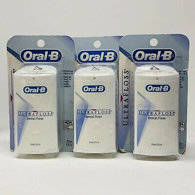 (3) Oral-B Ultra Floss Unflavored 55yd Each (165 yds total) NOS
