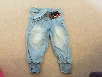 Girls Baggy Faded Jeans Aged 4 - 5 Years Primark £8 BNWT Elasticated Bottoms
