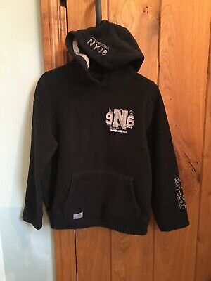 NEXT Boy's Black Fleece Hoodie Age 9 Years (134 cm) Cosy and Warm Good Condition