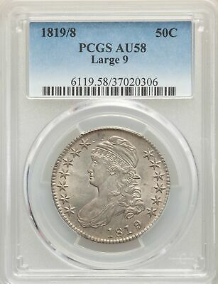 1819/8 US Silver 50C Capped Bust Half Dollar - Large 9 - PCGS AU58