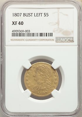 1807 US Gold $5 Capped Bust Half Eagle - Bust Left - NGC XF40