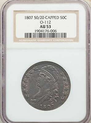 1807 US Silver 50C Capped Bust Half Dollar - Large Stars 50/20 - NGC AU53