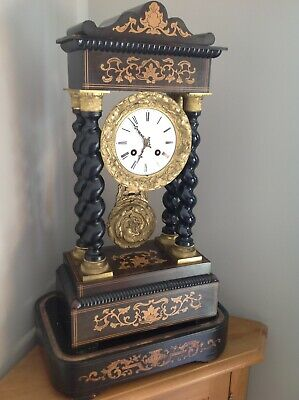 Antique Portico Clock 8 day Rosewood and Marquetry with Glass Dome Outstanding