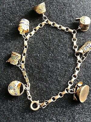 Antique Chinese Export Silver Gilt Filigree Charm Bracelet Enamel Vintage