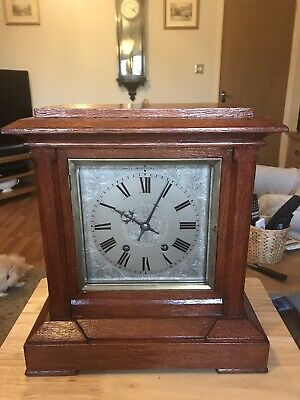 stunning Solid Oak Cased Ting Tang Bracket Clock Fully Restored
