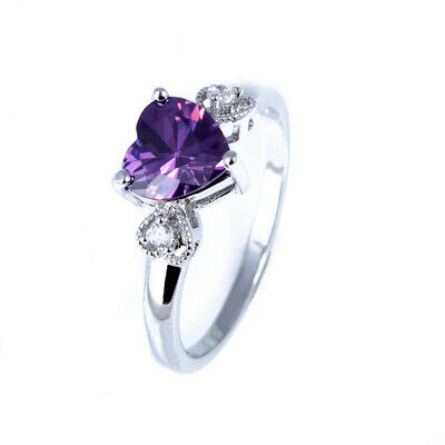 Women's Fashion Silver Heart 1.6ct Amethyst Wedding Ring Engagement Size 6