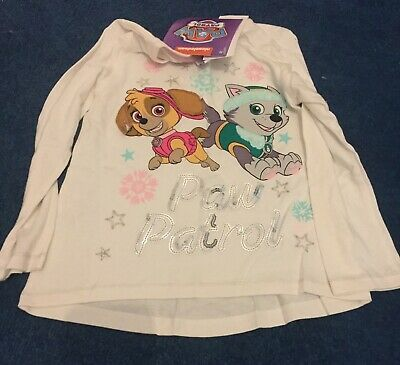 White Paw Patrol Skye and Everest Girls Long Sleeved T-Shirt Size 3-4 years NEW